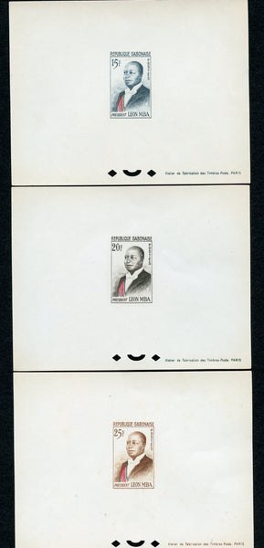 Gabon Scott 160-163 President Leon MBA Three Epreuves Deluxe Sheets Mint NH