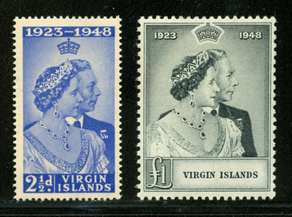 Virgin Islands Scott 90-91 KGVI Silver Wedding Mint with HR