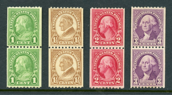 US Scott 604-606,722 Pairs Mint NH in Mounts