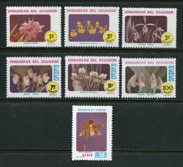 Ecuador Scott 1003-05, C709-12 ORCHIDS Mint Never Hinged