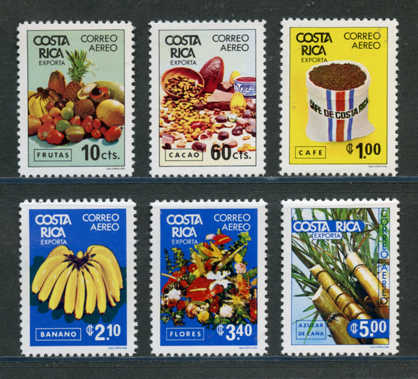 Costa Rica Scott C797-C802 Orchids, Fruits, coffee Mint NH Set