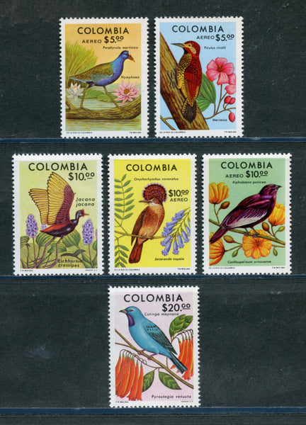 Colombia Scott 858-59, C644-47 Birds and Orchids Mint NH Set