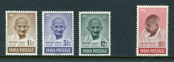 India Scott 203-206, SG305-308 Mahatama Ghandi Fresh Unmounted NH Set