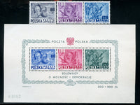 Poland C26a-26d LH Mint Set and NH Souvenir Sheets