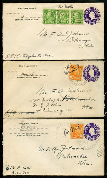US 3 stamped covers franked with stamps to meet airmail rate