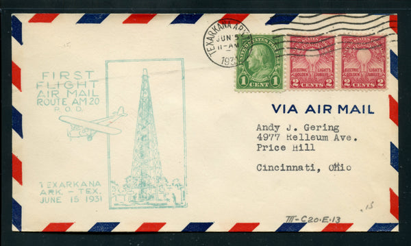US 1931 First Flight Air Mail Route AM 20