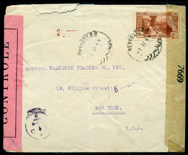 Lebanon Liban 1944 CENSORED Cover to New York Torn Top