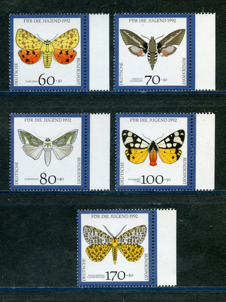 Germany Scott B728-32 Mi 1602-6 Endangered Butterflies Mint NH