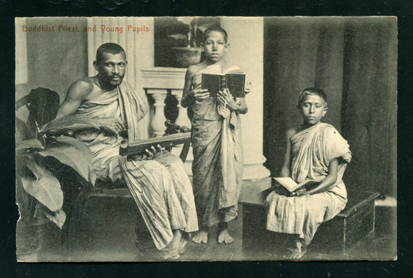 Ceylon Vintage Postcard PC Post Card Budhist Priest With Pupils