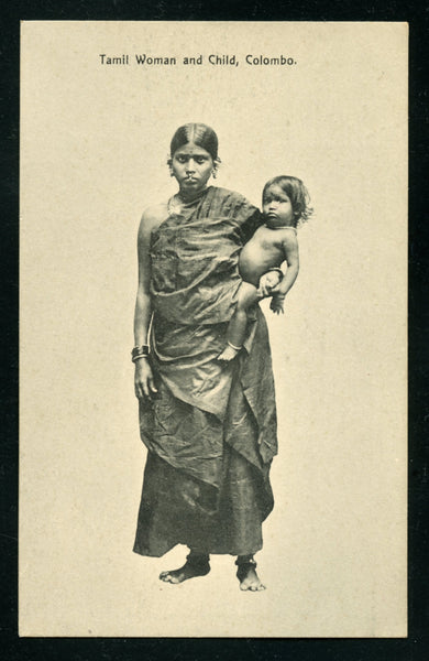 Ceylon Vintage Postcard PC Post Card Tamil Woman and Child Costume
