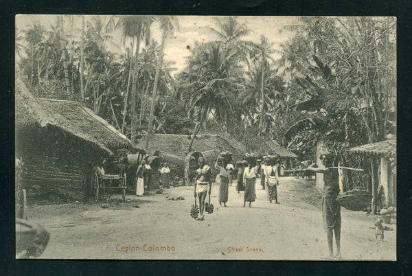 Ceylon Vintage Postcard PC Post Card Street Scene Colpetty Rd