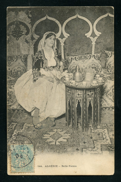 Algeria Algier Vintage Postcard PC Post Card Belle Fatima Beauty Having Tea Costumes