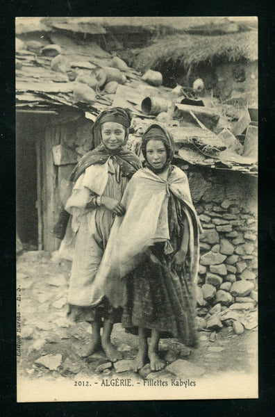 Algeria Algier Vintage Postcard PC Post Card 2 Young Kabyle Girls Costume