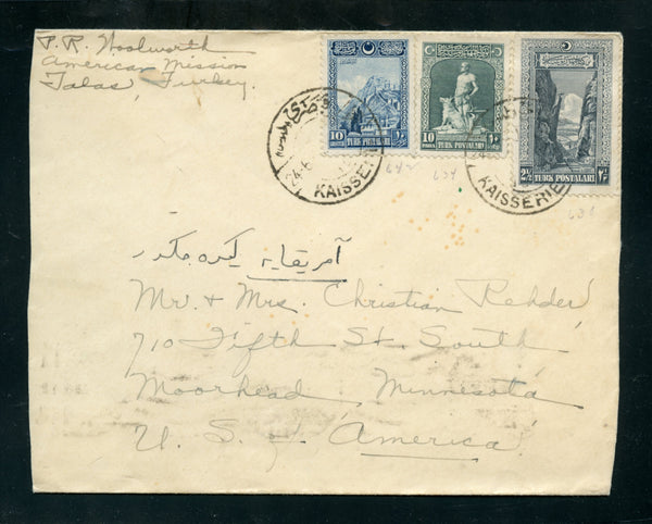 Turkey 1928 Cover From Kaisserie to Moorhead Minnesota