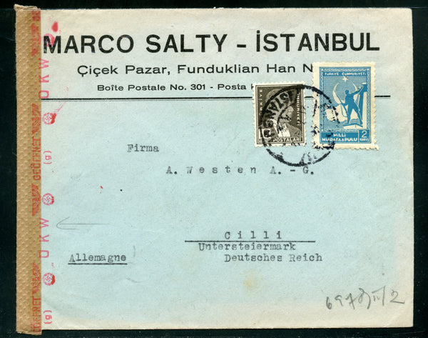Turkey 1942 CENSORED cover to Germany