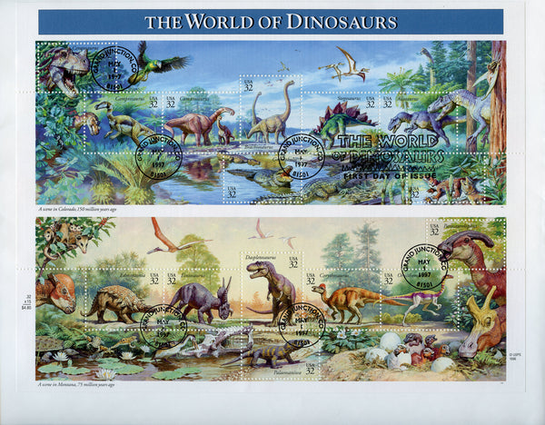 US Scott 3136 world of Dinosaurs - Prehistoric Animals FDC sheet