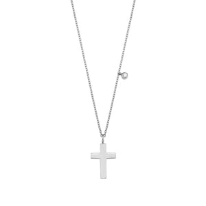 14K Solid Gold Diamond Cross Charm Necklace For Women - Jewelryist