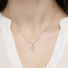 Load image into Gallery viewer, 14K Solid Gold Diamond Cross Charm Necklace For Women - Jewelryist