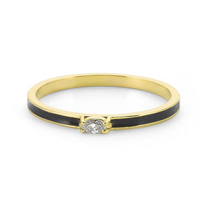 14K Solid Gold Diamond Enamel Ring For Women - Jewelryist