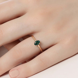 14K Solid Gold Emerald Ring For Women - Jewelryist