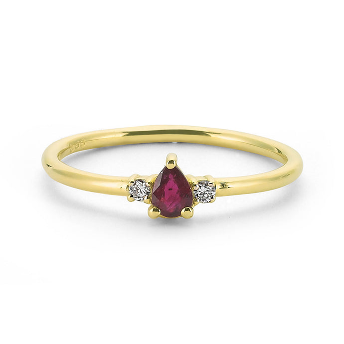 14K Solid Gold Diamond Ruby Ring For Women - Jewelryist