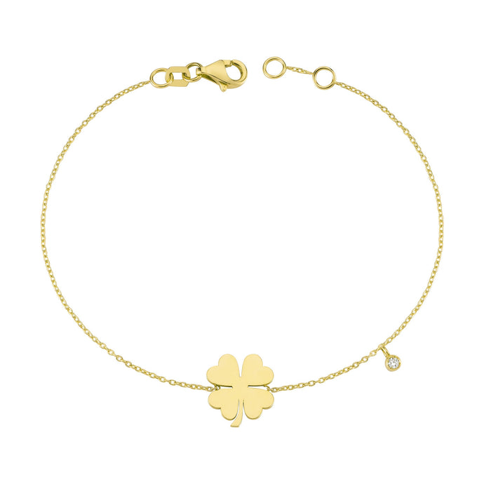 14K Solid Gold Diamond Flower Bracelet for Women - Jewelryist