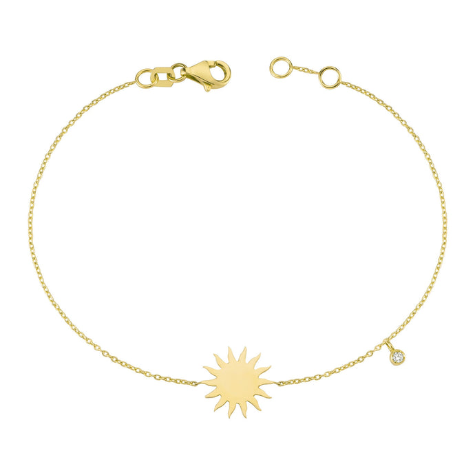 14K Solid Gold Diamond Sun Charm Bracelet for Women - Jewelryist