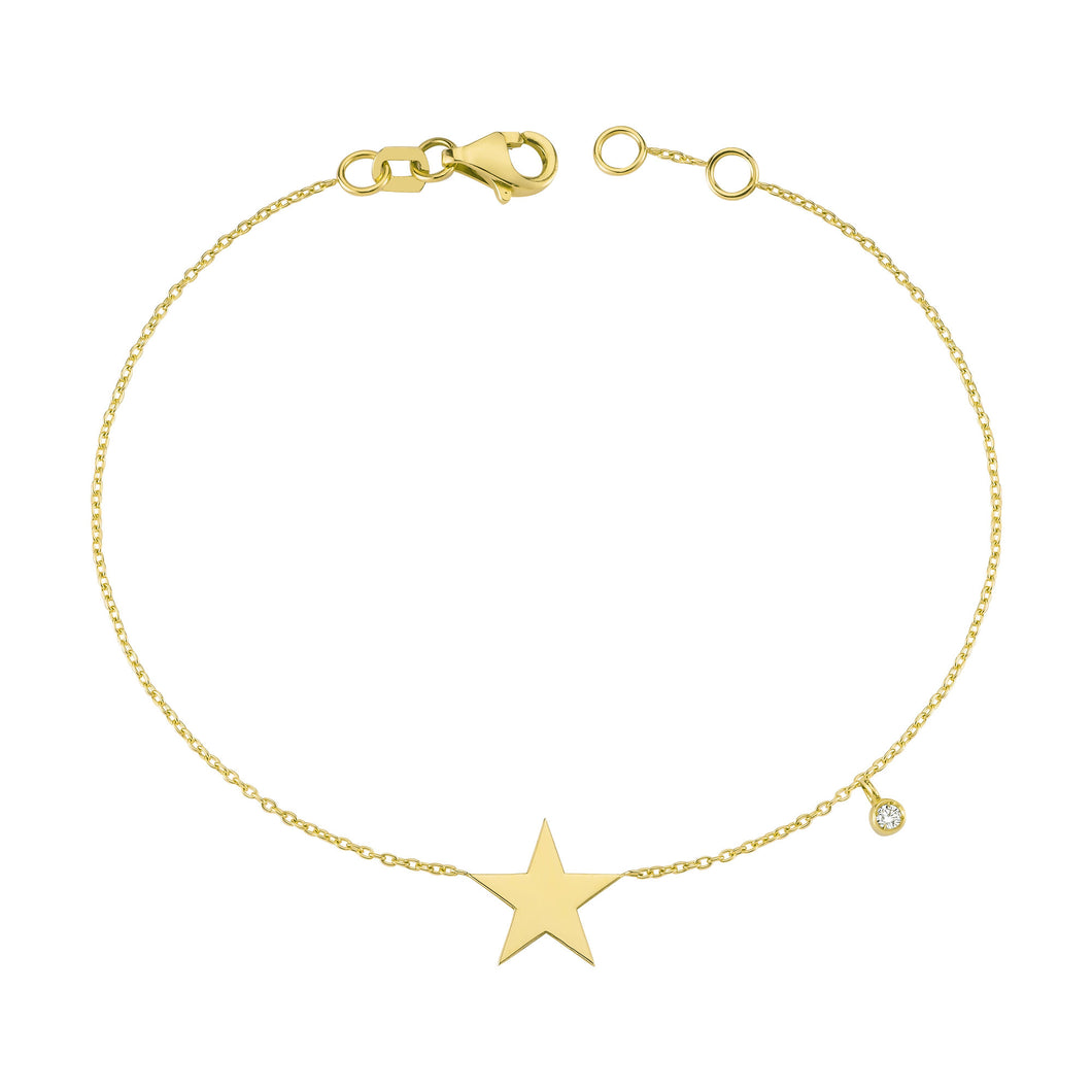 14K Solid Gold Diamond Star Charm Bracelet for Women - Jewelryist