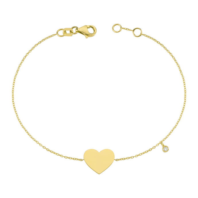 14K Solid Gold Diamond Heart Charm Bracelet for Women - Jewelryist