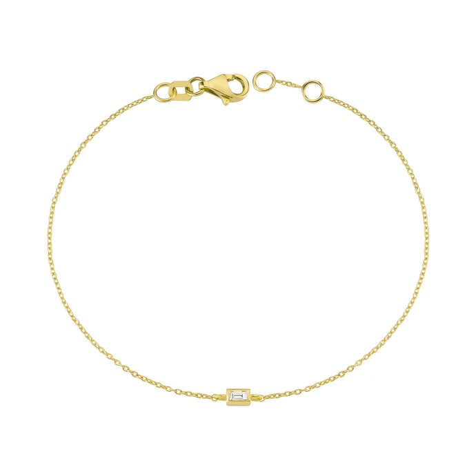 14K Solid Gold Baguette Diamond Bracelet for Women - Jewelryist