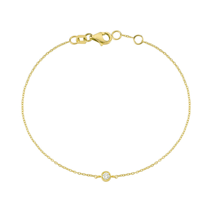 14K Solid Gold Diamond Solitaire Bracelet for Women - Jewelryist