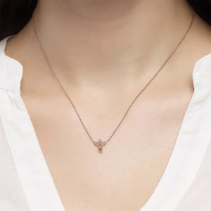 14K Solid Gold Diamond Angel Necklace For Women - Jewelryist