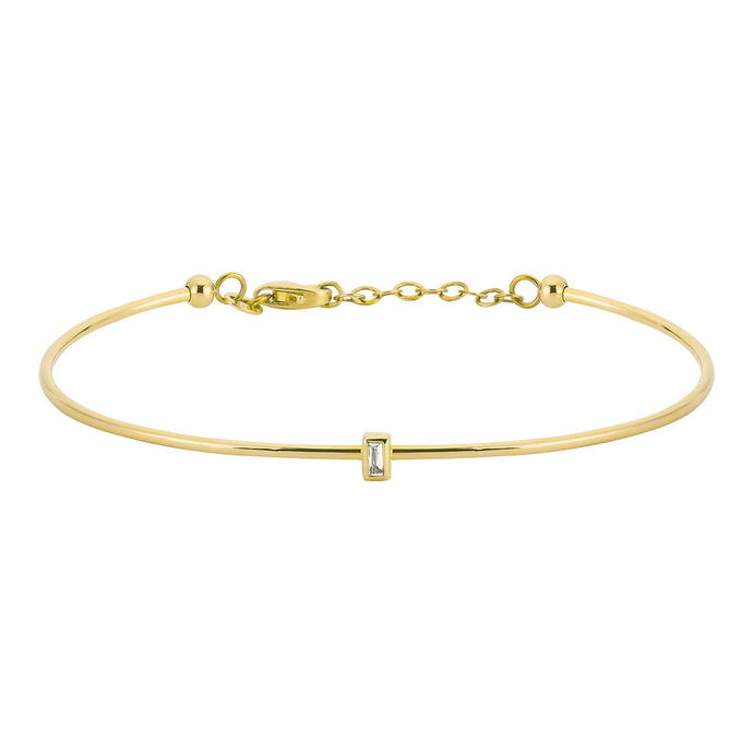 14K Solid Gold Baguette Diamond Solitaire Bangle Bracelet for Women - Jewelryist