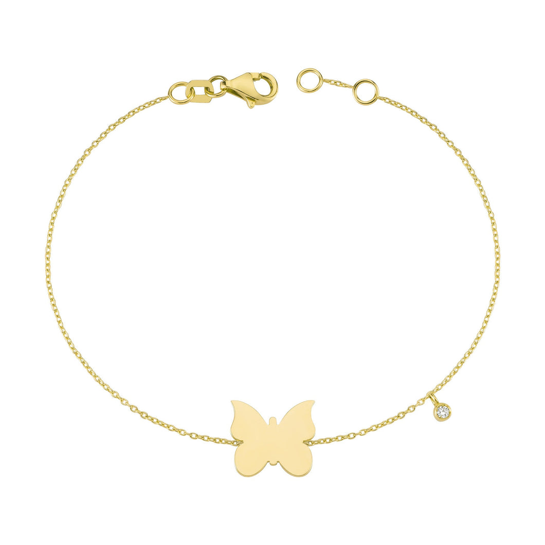 14K Solid Gold Diamond Butterfly Bracelet for Women - Jewelryist