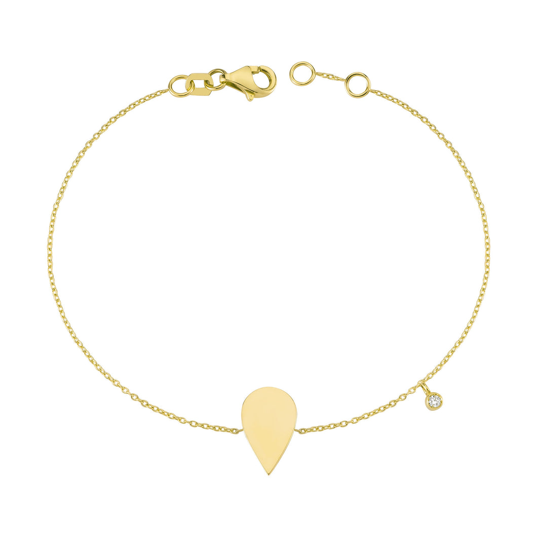 14K Solid Gold Diamond TearDrop Charm Bracelet for Women - Jewelryist