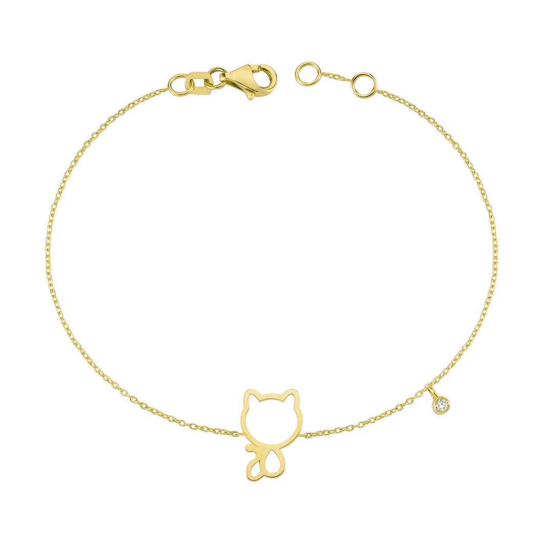 14K Solid Gold Diamond Cat Bracelet for Women - Jewelryist