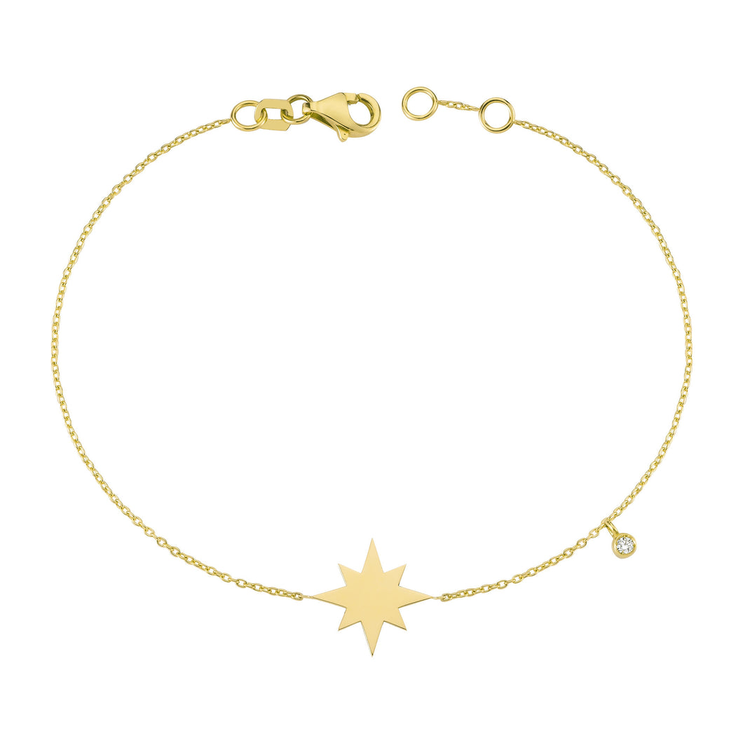 14K Solid Gold Diamond North Star Charm Bracelet for Women - Jewelryist