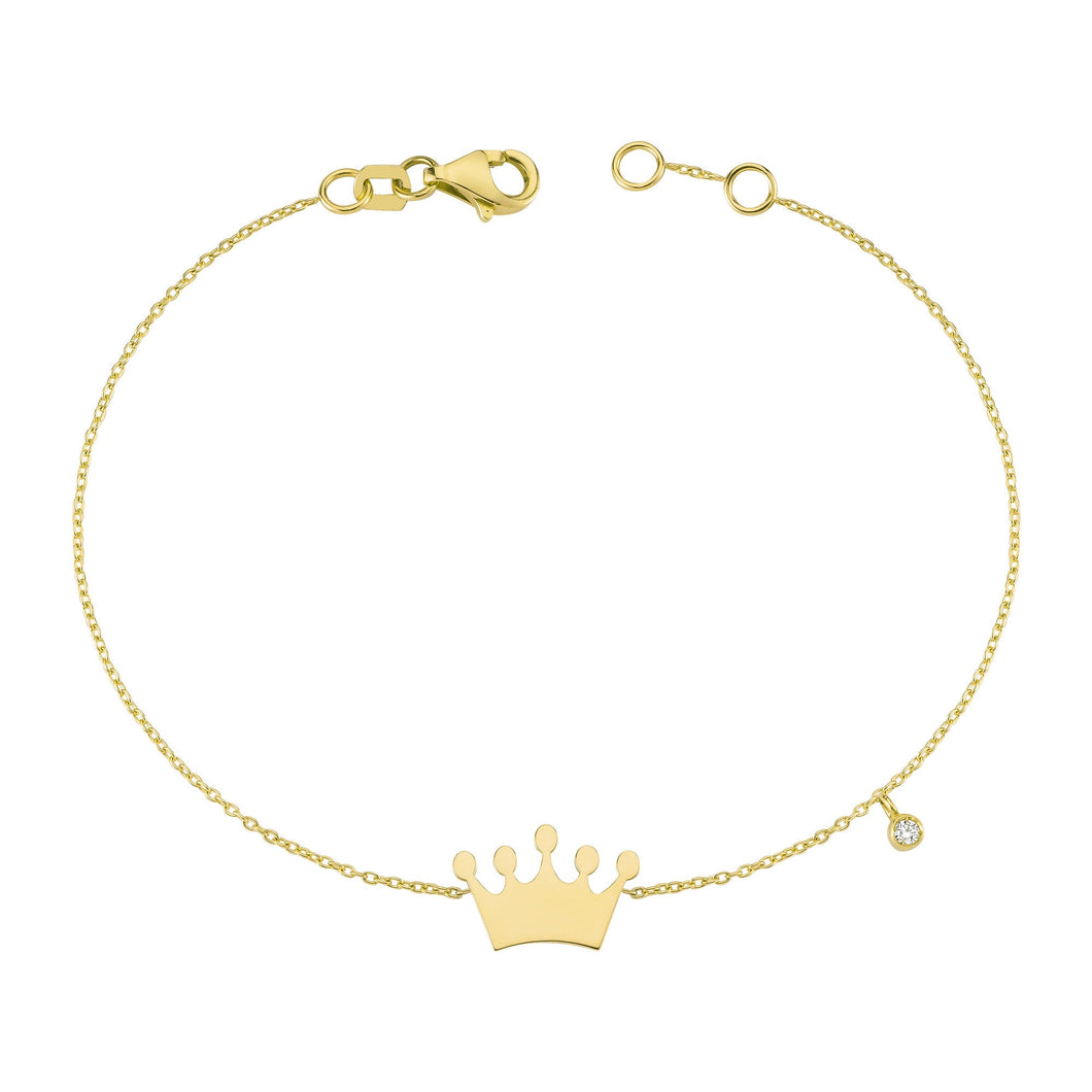 14K Solid Gold Diamond Crown Charm Bracelet for Women - Jewelryist