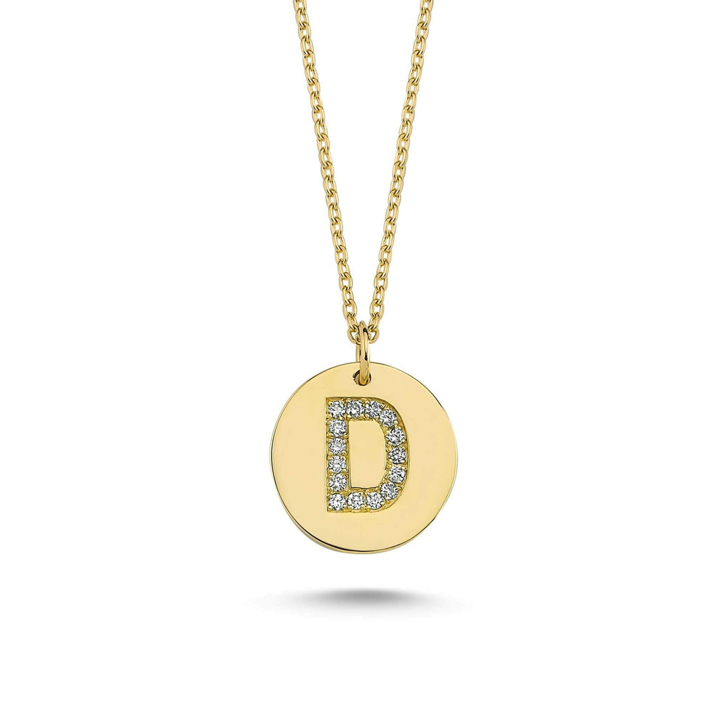 14K Solid Gold Diamond Initial D Charm Necklace For Women - Jewelryist