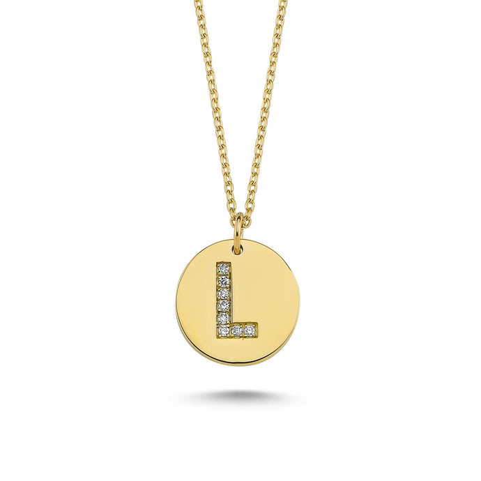 14K Solid Gold Diamond Initial L Charm Necklace For Women - Jewelryist