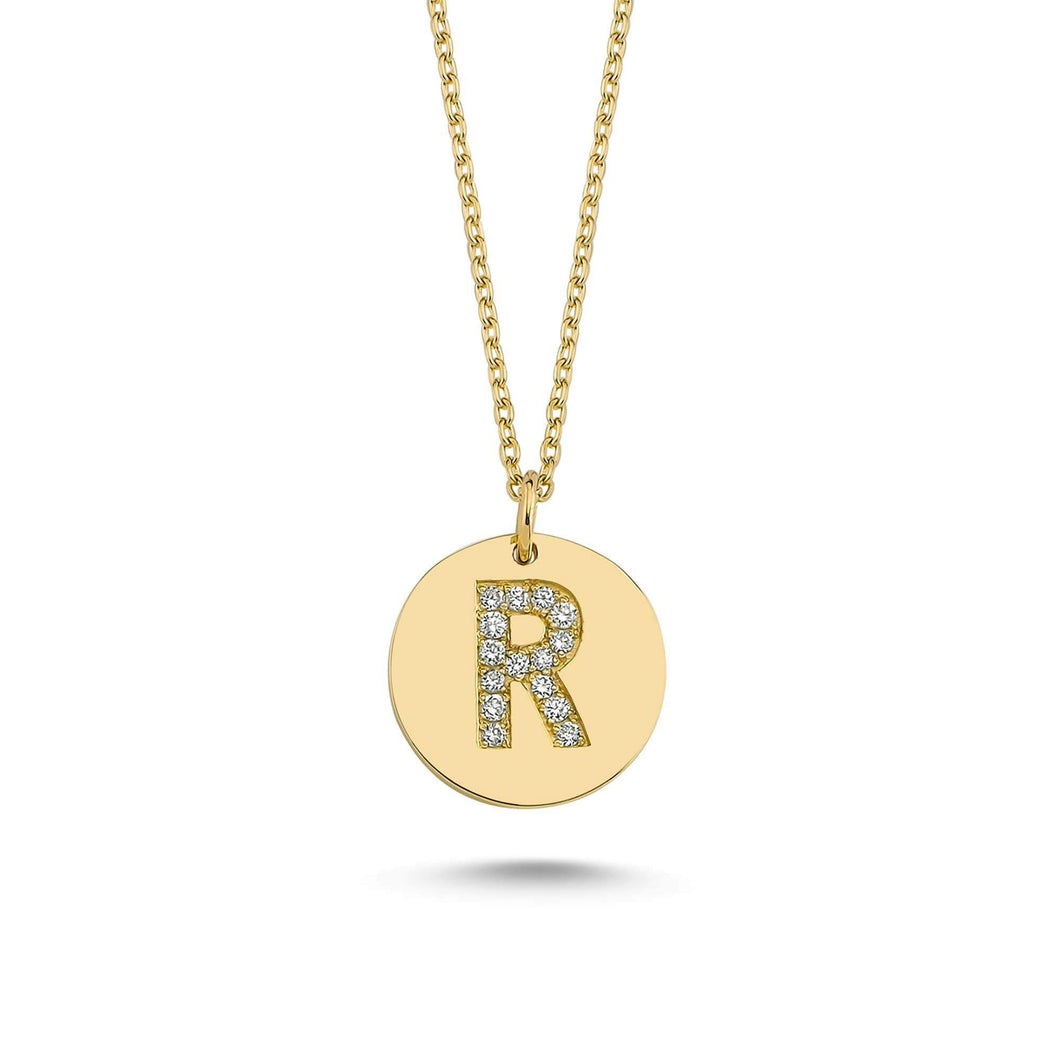 14K Solid Gold Diamond Initial R Charm Necklace for Women - Jewelryist