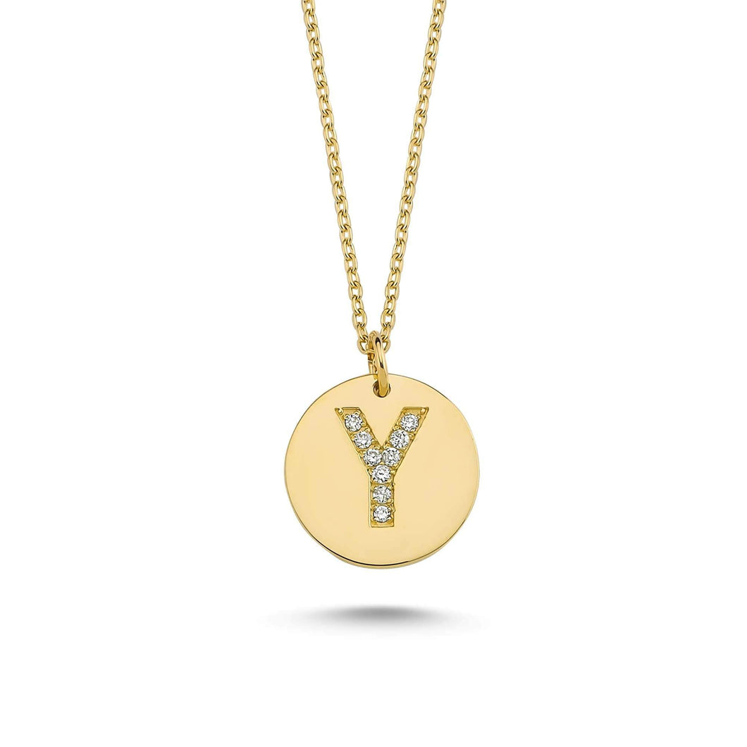 14K Solid Gold Diamond Initial Y Charm Necklace For Women - Jewelryist
