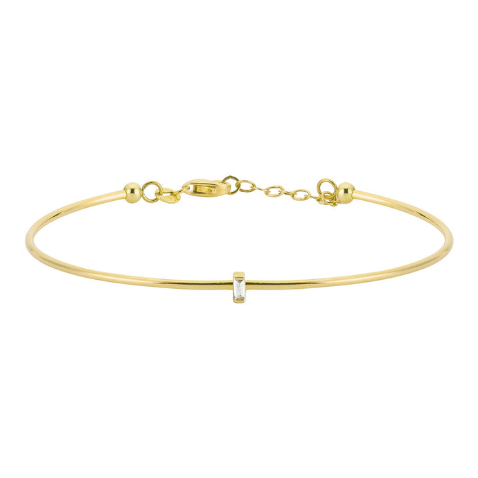 14K Solid Gold Baguette Diamond Bangle Bracelet for Women - Jewelryist