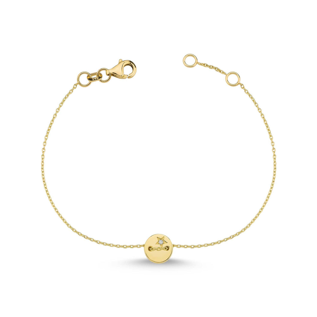 14K Solid Gold Diamond Charm Bracelet for Women - Jewelryist