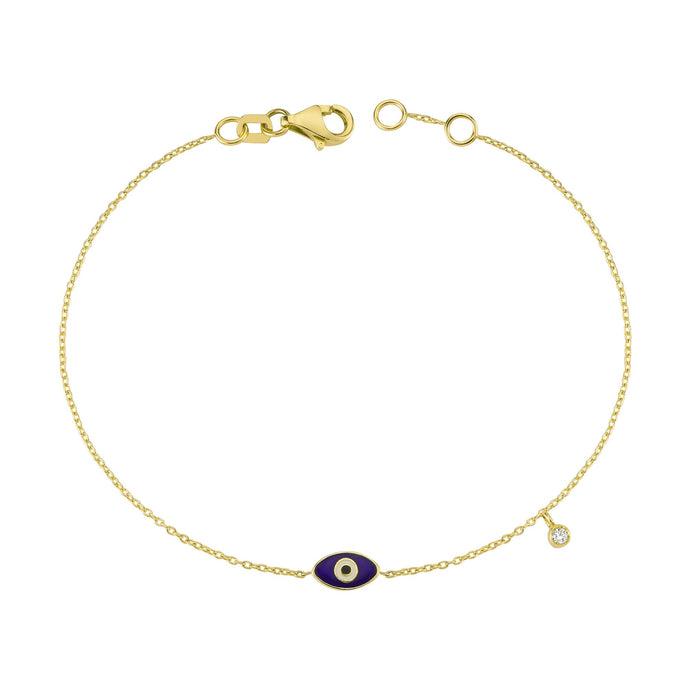 14K Solid Gold Diamond Enamel Evil Eye Charm Bracelet for Women - Jewelryist