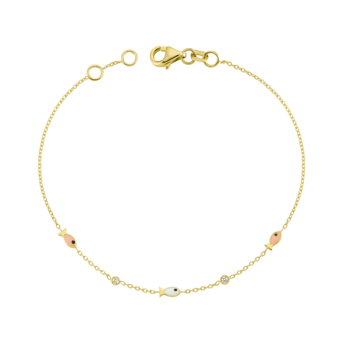 14K Solid Gold Diamond Enamel Fish Charm Bracelet for Women - Jewelryist