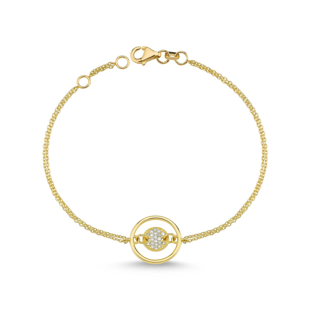 14K Solid Gold Diamond Circle Charm Bracelet for Women - Jewelryist
