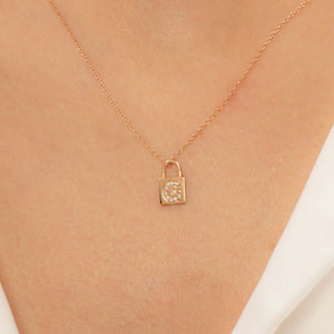 14K Solid Gold Diamond Initial G Charm Necklace For Women - Jewelryist