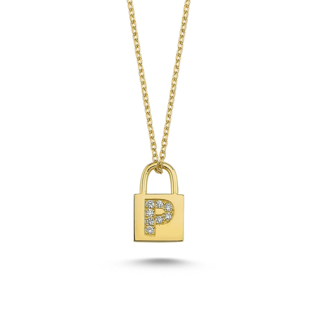 14K Solid Gold Diamond Initial P Charm Necklace For Women - Jewelryist