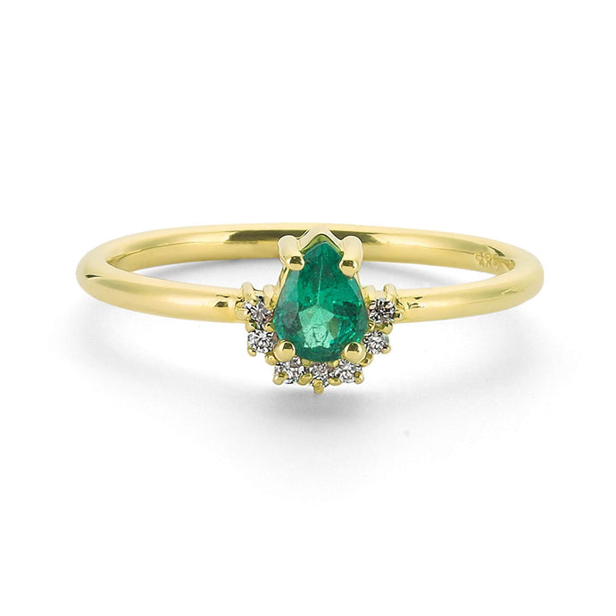 14K Solid Gold Diamond Emerald Ring For Women - Jewelryist